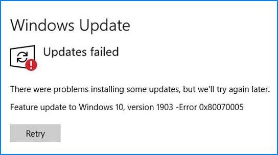 Windows 10 версия 1903 ошибка 0x80070005